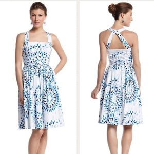 WHBM kaleidoscope belted fit n flare dress